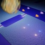 """Chalmersi katses põrkuvad virtuaalsed elektronid ,,peegliga,"""" mis vibreerib peaaegu valguse kiirusel, tekitades nii vaakumis footonite paare. Pilt: Philip Krantz, Chalmers"""